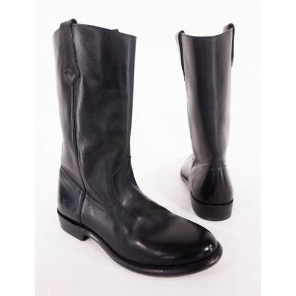 """FRYE Mens 8 D Black Keith 12"""" Leather Cowboy Boots"""